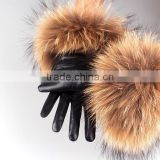Raccoon Fur Sheepskin Leather Gloves for ladies
