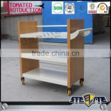 Henan luoyang School library furniture metal Steel book trolley/metal book cart on sale