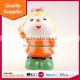 Promotional cute girl shape lovely girl with bowknot ceramic coin sorter for home decoration