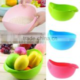 2017 New Practical Creative Fashion Plastic Wash Rice Colander Strainer Sieve Bright Kitchen Plastic Drain Vegatable Basket