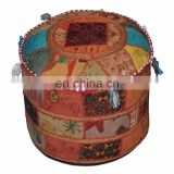Indian Embroidery Work Ottoman Cotton Pouf Cover Designer Handmade Home Decor Patchwork Living Room Ottoman Cover wholesale Lot
