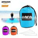 10X9ft Waterproof Picnic Blanket Custom LOGO Cheap Compact Outdoor Parachute 210T Nylon Folding Sand Free Beach Blanket
