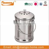 Stainless steel metal indoor compost bin