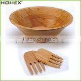 Original Natural Customized Wholesales Bamboo Salad Bowl With Bamboo Hands
