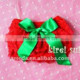 Christmas Baby Red Lace Petti Bloomers with Green Bow
