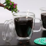 Customized Logo Glass mugs coffee mugs  400ML double wall milk cup juice cup