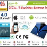 SIFSCAL-15 Muscle Mass Bathroom Scale, ITO Glass Surface, Measuring Bone Mass//BMI/BMR/ Visceral Fat/ Body Water
