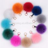 fur pom pom with pu leather keychain bottle opener fur key ring key holder fox fur ball