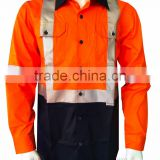 long sleeve hi-vis cotton drill safety shirts