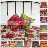 TWIN QUEEN Size Indian Kantha work Quilt Gudri Reversible Throw Ralli Cotton Fruit printed Blanket handmade Bedspread Bedding