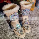 Aidocrystal 2016 latest ladies long boots with belt Shiny women Rhinestone winter shoes in boots