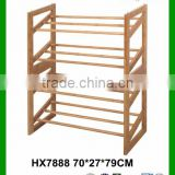 Cheap Eco-friendly 4 Tier Foldable Vertical Bamboo Wood Shoe Rack