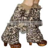 YR147 American Favorite Print Color Rabbit Fur Leg Warmer with Fur Balls