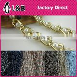 Fashion lady bag accessory metal chain with pearl beads
