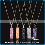 Gold Plated Retancgle Raw Agate Crystal Jewelry Druzy Geode Necklace