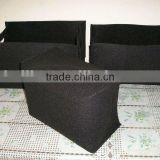 black rectangular felt houseware storage basket