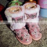 Aidocrystal Fashion lady shoes warm winter pink diy rhinestone butterfly snow boots for women