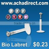 Crystal jewelry , Bioflex labret with crystals in assorted colors price starts from US$ 0.23 per piece