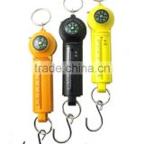 Mini hanging spring scale with compass and tape measure