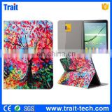 Factory Price Tablet Red Leaves Tree Pattern Card Slots Flip Stand TPU+ PU Leather Case for Samsung Galaxy Tab S2 9.7 T810