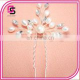 silver crystal rhinestone hair sticks clip pearl flower hairpins
