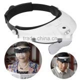 2017 Hot Selling 2 LED Headband Glasses Illuminated Magnifier Loupe Single/Bi-plate Magnifications 5 Lens