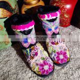 Aidocrystal House soft sole indoor cheap Winter Fur Black Slipper Boots For Girls