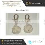 Vibrant Color Shiny Material Made Monkey Fist Nautical Rope Keychain Available at Low Cost