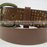 unsex PU fashion leather with geometry pattern with pin alloy buckle belt munufacturer belt