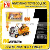 funny 4 channels rc construction toy truck excavator crane truck with light B/O toys EN71