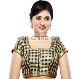 Black silk readymade stitched saree blouse for women