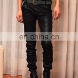 Wholese Custom Mens Dark Black Faux Leather Pants