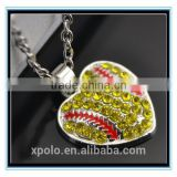 XP-MP-099335 FACTORY PRICE Wholesale softball Pendant Shape Crystal Rhinestone Heart Pendant Necklace