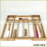 Bamboo kitchen organizer/ wooden utensil tray Homex-BSCI