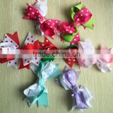 "5"" Grosgrain Boutique red green white large Hair Bows for Girls, Toddlers and babies"