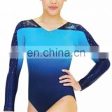 new fashion girl's sublimation gymnastics leotards long sleeves custom design manufacturer