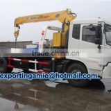 telescopic 8 ton crane mounted flatbed recovery truck for sale