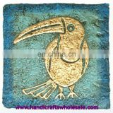 Golden Large Tropical Island Toucan Bird Painting Hand Painted Ethnic Tribal Art Unique Birds Paint Affordable Home Wall Decor
