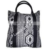 COTTON CANVAS TOTE BAG WITH LEATHER HANDLE