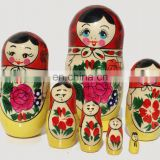 Handmade Matryoshka with Rose Flowers Traditional Wooden Babushka Russian Dolls Matryoshka Art Handcrafted Childrens Toy Set 7pc