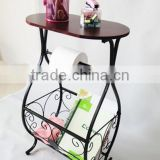 RH-02A Round wood top with metal frame Gramercy Scroll-Design Bathroom table