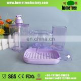 Clear Rectangle 4pcs Complete Plastic Purple Bathroom Accessories Set
