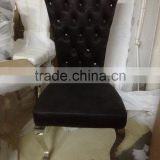 2014 new professional metal dining chair with pu upholster or fabric