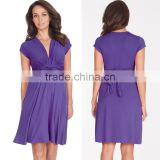 hot sale purple knot front maternity dress,latest maternity dress designs deep v neck,maternity clothing wholesale