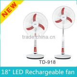18'' Solar/Battery Powered Rechargeable Standing Fan with Lighting System for Home and Industrial Use