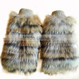 YR168 Latest Style Natural Color Genuine Raccoon Fur Leg Warmers