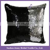 SQP022P black silver plain two tone sequin fabric handmade cushion cover for office chair