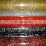 2015 popular and fashion decoration glitter printed organza roll gift wrapping printed roll