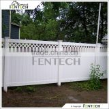 Outdoor White Lattice Top Vinyl Privacy Fence Safe for Yard, Child