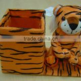 New design soft pen container in tiger style